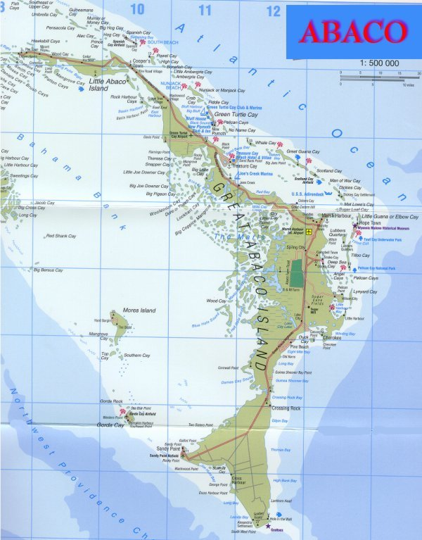 Map of The Abacos, Bahamas, Great Abaco, Little Abaco, Marsh Harbour ...