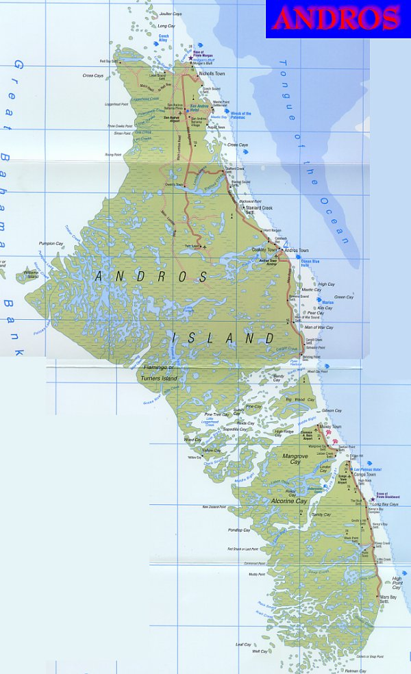 Map of Andros Island, Bahamas, complete with Andros settlements and ...