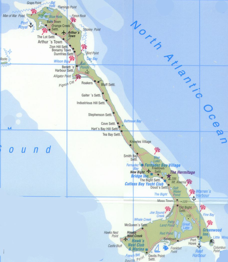 Map of Cat Island Bahamas all major settlements Arthurs Town