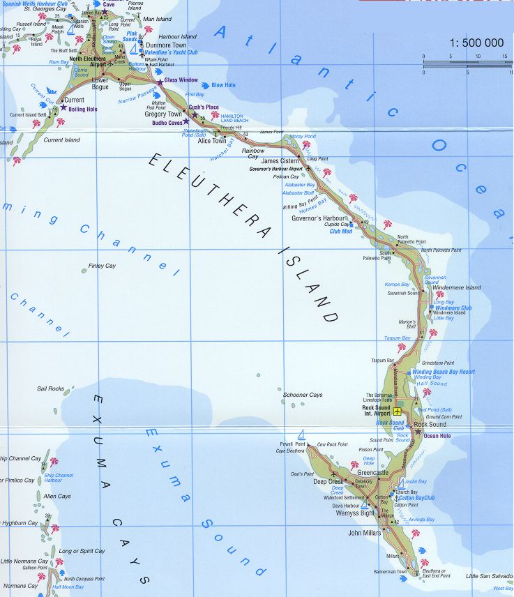 Map of Eleuthera Bahamas The Bluff Current Gregory Town James
