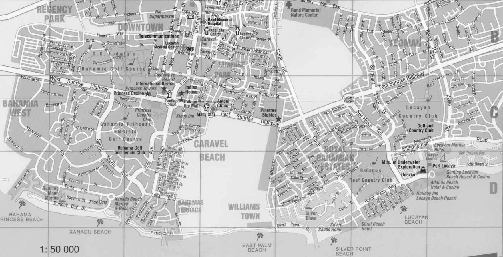 Map of Freeport and Lucaya with streets and detail Grand Bahama