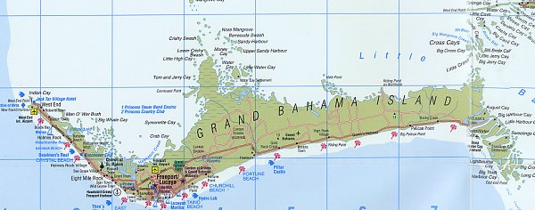 Map of Freeport, Grand Bahama Island, Bahamas, includes Lucaya, West ...