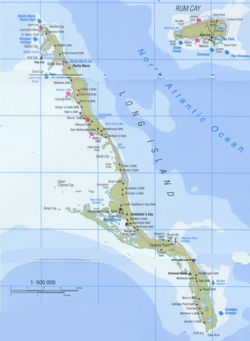 Map of Long Island, Bahamas